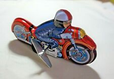"""VINTAGE Tin Toy Sanko New 6"""" Wind Up Auto Turn Motorcycle Bike Made in Japan"""