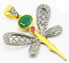 2.30ct Rose Cut Diamond Ruby Emerald Antique Victorian Look 925 Silver Pendant