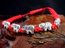 Silver Elephant Bead Feng Shui Jewelry Good Luck Longevity Charm String Bracelet