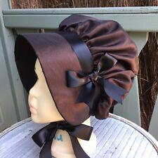 Girls VICTORIAN Taffeta BONNET Black White Brown Cream Christmas Oliver Regency