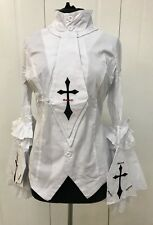 Raven Gothic White Shirt With Detachable Tie And Bell Sleeves M