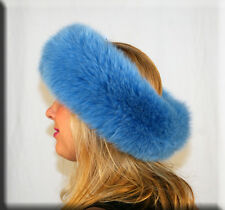 New Turquoise Blue Fox Fur Headband 26 Inches Long and 5 Inches Wide