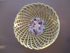 YELLOW PORCELAIN WOVEN BASKET BOWL WITH PURPLE FLOWERS