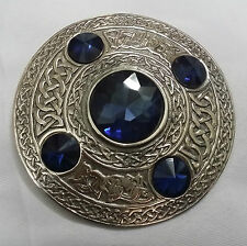 Kilt Fly Plaid Brooch Blue Stone Silver Antique/Celtic Brooches Kilt Fly Plaid