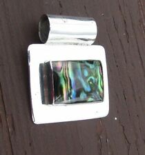925 STERLING SILVER SQUARE PENDANT With MULTICOLORED INLAY STONE MEXICO