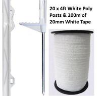 20 X WHITE 4FT POSTS & 20MM POLY TAPE Electric Fence Fencing Horse Paddock