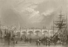 New bridge and Broomielaw, Glasgow. Scotland. BARTLETT 1842 old antique print