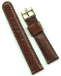 Brown 18mm Genuine Lizard MB Strap Band Leather & Vintage Gold Omega Buckle