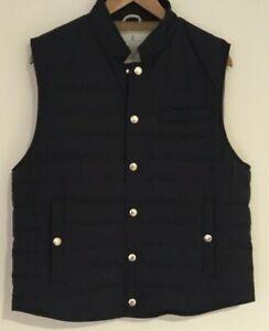 NWT $1995 BRUNELLO CUCINELLI navy Down Vest Sleveless Jacket Puffer Blue Size L