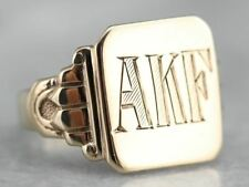 """Early Retro """"AKF"""" Gold Signet Ring"""