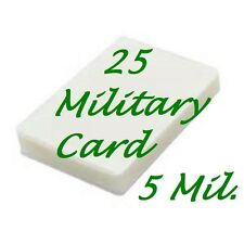 MILITARY CARD 25 Pack Laminating Laminator Pouch Sheets 5 Mil. 2-5/8 x 3-7/8