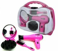 Battery Operated Girls Hair Dryer Toy Play Set in Carry Case Mirror Brush
