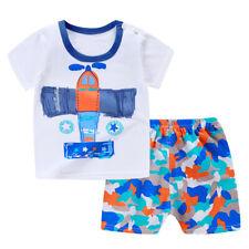 Toddler Infant Baby Boys Girls Short Sleeve Cartoon Tops Shirt+Pants Outfits Set