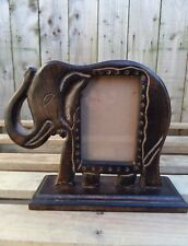 FairTrade Indian Hand Carved Made Mango Wood Wooden Elephant Carving Photo Frame