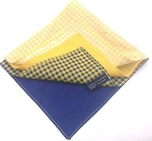 $125 Tommy Hilfiger Mens Blue White Handkerchief 4 Way Check Solid Pocket Square
