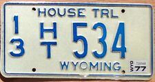 1977 Wyoming House Trailer License Plate 13 534