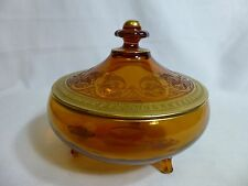 Cambridge Glass Co Pattern Vintage Lidded Candy Dish Bowl Amber with Lid