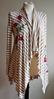 Soft Surroundings XS Stripe Open Front Drape Cardigan Top Floral Embroidered