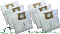 CASA VACUUMS Shop Vac HEPA Bags-6PK-Fits Tank Sizes 5-8 GALLON High Efficiency