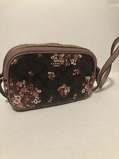 New COACH F31580 CROSSBODY SIGNATURE CANVAS Floral PRINT Double Zip Bag Brown