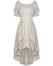 Dark In Love Long Steampunk Dress Cream Off White Lace Vintage Victorian Gothic