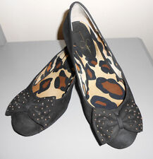 Jassica Simpson Womens Black Suede Leather Animal Print Ballet Flats Sz 6B Shoes