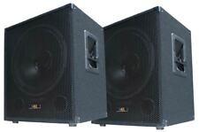 """2x 600W DJ PA SUBWOOFER Bass-Lautsprecher Boxen PAAR 38cm/15"""" SUB-P38 TP-Weiche"""