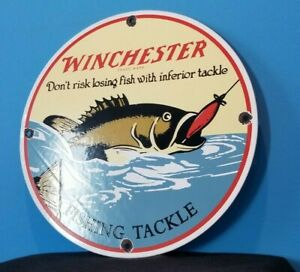 VINTAGE WINCHESTER FISHING LURES PORCELAIN REELS BOAT TACKLE SALES SERVICE SIGN