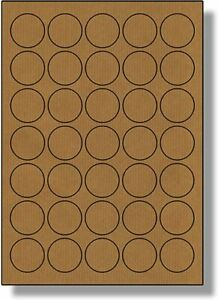 Brown Kraft  Sticky Labels 37mm Dia  Stickers Tags Blank Self Adhesive