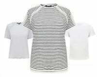 Ladies T Shirt Lace Effect Light Summer Beach Holiday White Striped New Womens