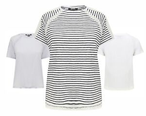 Ladies Womens Girls Tee T Shirt Top Spring Summer EX PRIMARK  White Striped Size