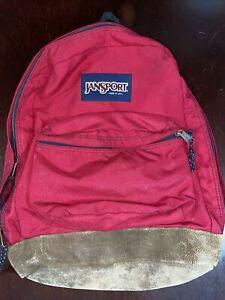 Vintage 90s Jansport Made USA Leather Bottom Backpack Red Day Pack Book Bag EUC