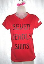 Women's New Balance Athletic Red Seven Deadly Shins V Neck Top Small