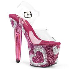 """Pleaser 7"""" pink rhinestone heart platform sandals"""