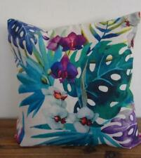 Tropical Orchids Coastal Hamptons Linen Blend Cushion Cover 45cm