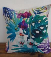 Tropical Orchids Coastal Hamptons Linen Blend Cushion Cover 45cm