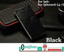 Book Cover Custodia Case Flip per Apple iPhone 6 6S Nero Porta Documenti Pelle