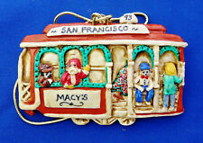 Christmas Ornament Macy's San Francisco '93 Cable Car with Santa Claus