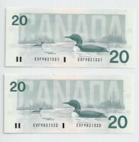 2 x Sequential 1991 $20 Bank of Canada Notes Bonin Thiessen GEM UNC