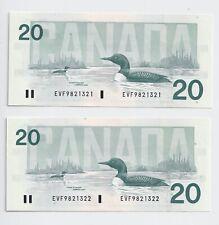 2 x Sequential 1991 $20 Bank of Canada Notes Bonin Thiessen GEM UNC