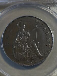 1936 Great Britain 1 Penny Graded AU58 by ANACS!!