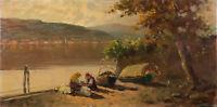G De Giorgi - Mid 20th Century Oil, Washerwomen By The Lake