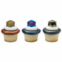 24 Batman Superman Wonder Woman Cupcake Rings Toppers Party Favors