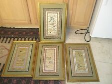 "Set of 4 Asian Embroidery Doily Doilies Framed No Glass 14"" x 21"" - 9-1/2"" x 16"""