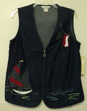 NEW size 8 Allison Daley VEST blue sailboat nautical