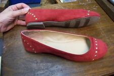 womens l.e.i. red fabric studded ballet flats shoes size 11