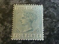 TURKS ISLANDS POSTAGE STAMP SG57 4D GREY LIGHTLY-MOUNTED MINT