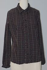 TOMMY HILFIGER Size XL Blue Checks Button Down Long Sleeve Blouse