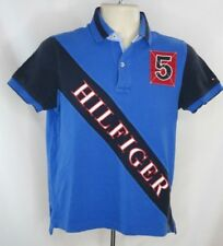 Tommy Hilfiger Big 5 Spellout Polo Sz XS Retro Vintage Short Sleeve Blues