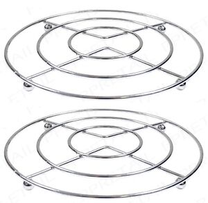 2 x CHROME HOT PAN POT STANDS STAINLESS STEEL ROUND TRIVET HOLDER KITCHEN NEW
